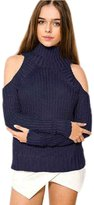 HAODUOYI Women Off Shoulder Long Sleeve Knit Sweaters Cut Heart Loose XL