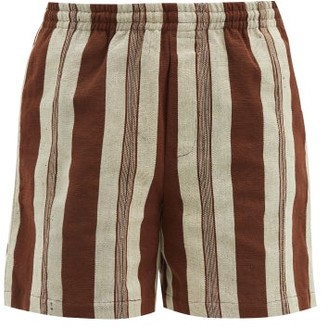 Bode Upcycled-fabric Striped Shorts - Brown