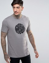 Pretty Green Eastfields Logo T-Shirt Slim Fit in Mid Gray