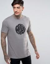 Pretty Green Eastfields Logo T-shirt Slim Fit In Mid Grey