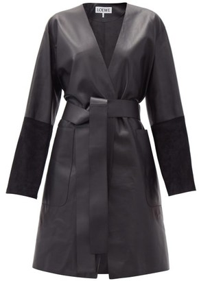 Loewe Suede-panelled Leather Wrap Coat - Black