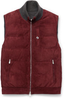 Brunello Cucinelli Reversible Cashmere-trimmed Suede And Shell Down Gilet - Red
