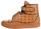 MCM Visetos Leather-Trimmed Sneakers