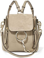 Chloé Faye Mini Leather And Suede Backpack - Gray