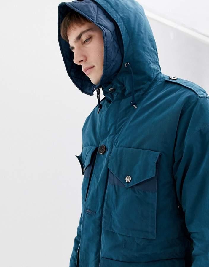 Pretty Green padded field jacket in blue