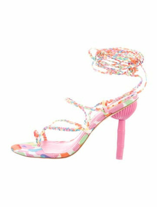 Cult Gaia Printed Braided Accents Sandals Pink