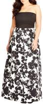 City Chic 'Painted Poppy' Strapless Maxi Dress