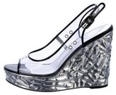 Chanel PVC Slingback Wedge Sandals