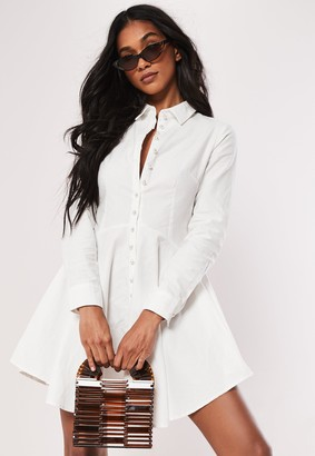 Missguided Petite White Button Down Faux Pearl Skater Shirt Dress