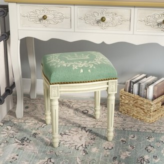 Lark Manor Clematite Coral Crown Linen Upholstered Vanity Stool Lark Manor Finish: Antique White, Color: Aqua