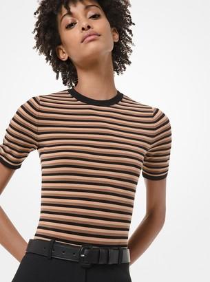 Michael Kors Striped Stretch-Viscose Short-Sleeve Bodysuit