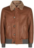 Brunello Cucinelli Leather Aviator Jacket