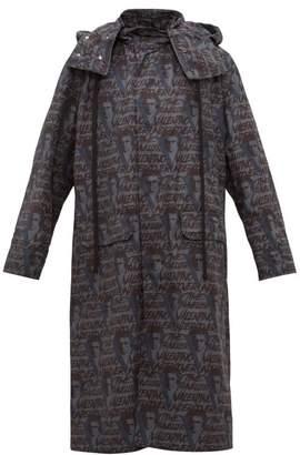Valentino X Undercover Logo Print Technical Fabric Raincoat - Mens - Grey Multi