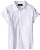 Nautica Girls Plus Short Sleeve Eyelet Polo (Big Kids)