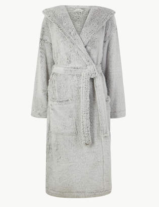 M&S CollectionMarks and Spencer Long Pile Hooded Dressing Gown
