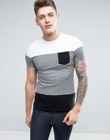 Celio T-Shirt with Block Panel Stripe
