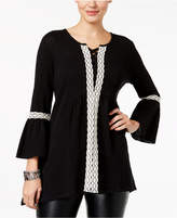 Style&Co. Style & Co Crochet-Trim Handkerchief Tunic, Created for Macy's