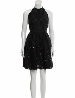 Oscar de la Renta Silk Embellished Dress Black