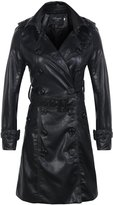 Yacun Women's Slim Fit PU Leather Long Trench Coat Overcoat Jacket Size 12