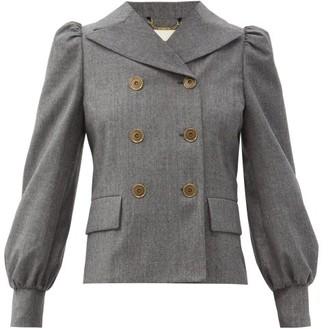 Fendi Double-breasted Puff-sleeve Brushed-wool Jacket - Dark Grey