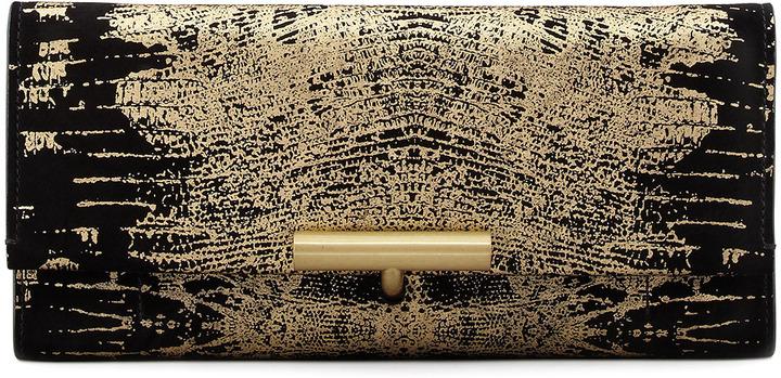 Reed Krakoff Printed Suede T-Pin Clutch Bag, Black/Gold