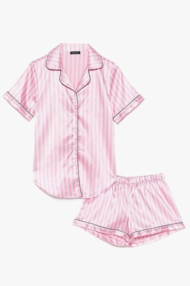 Nasty Gal Womens Just Satin Bed Striped Pyjama Set - Pink - 8