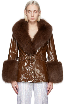 Saks Potts Brown Patent Fur Shorty Coat
