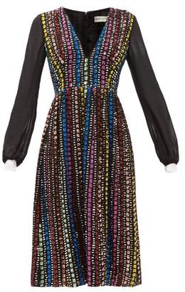 Mary Katrantzou Isla Sequinned Crepe Midi Dress - Womens - Black Multi