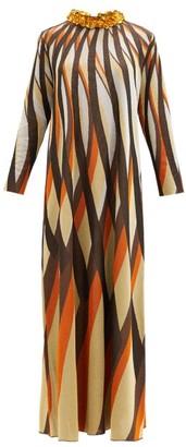 Gucci Embellished-collar Jacquard-stripe Lurex Dress - Brown Multi