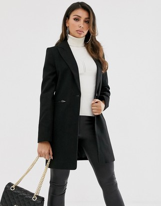 Asos Design DESIGN boyfriend coat with zip pockets in black