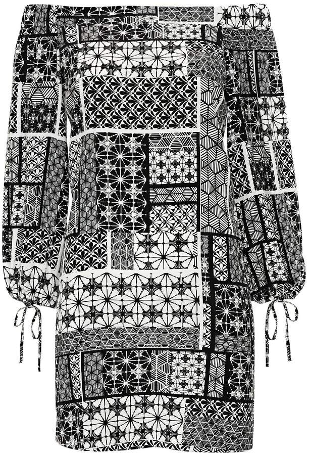 Wallis PETITE Black and White Tile Print Dress