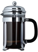 Cafe Ole by Grunwerg 6-Cup Classic Coffee Maker Glass Cafetiere, Chrome Finish, 800 ml 0.8 Litre