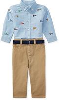 Ralph Lauren Boy Shirt, Belt & Pant Set