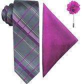 Jf J.Ferrar JF Fashion Grid Tie, Pocket Square and Lapel Pin Set