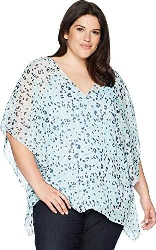 NYDJ Women's Size Plus Chiffon Caftan Popover