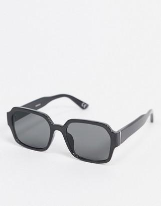 ASOS DESIGN square plastic frame sunglasses in black with smoke lens
