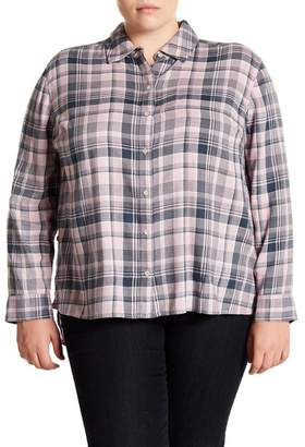 Melrose and Market Side Button Plaid Top (Plus Size)