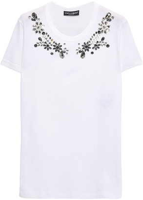 Dolce & Gabbana Crystal-embellished Cotton-jersey T-shirt