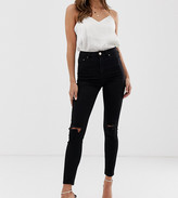 Asos DESIGN Ridley high waisted skinny jeans in clean black with ripped knees
