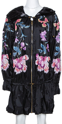 Roberto Cavalli Black Synthetic Floral Printed Hooded Dress M