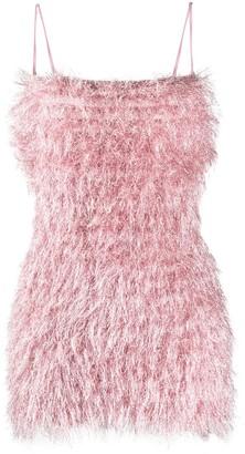 Laneus Fur-Trimmed Mini Dress