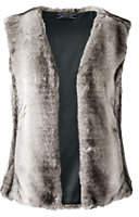 Lands' End Women's Plus Size Faux Fur Vest-Dark Charcoal Heather