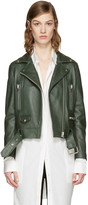Acne Studios Green Leather Mock Jacket