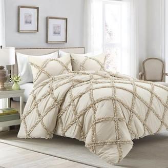 Lush Decor Ruffle Diamond Comforter Set Neutral 3Pc Set King
