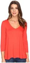 Lilla P 3/4 Sleeve Pleat Back V-Neck Women's Clothing