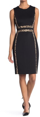 Calvin Klein Animal Print Trim Sleeveless Sheath Dress