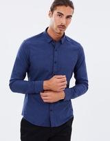 Brooksfield Textured Melange LS Shirt