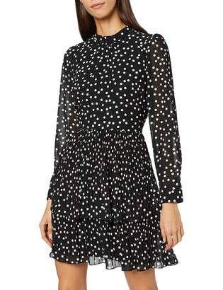 Warehouse Women's Micro Pleat Spot Tiered Mini Dress
