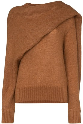 REJINA PYO knitted wrap-style scarf jumper