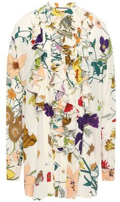 Gucci Ruffled Floral-print Silk Crepe De Chine Blouse